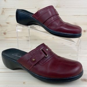 Clarks Red Leather Rounded Toe Small Heel Mules
